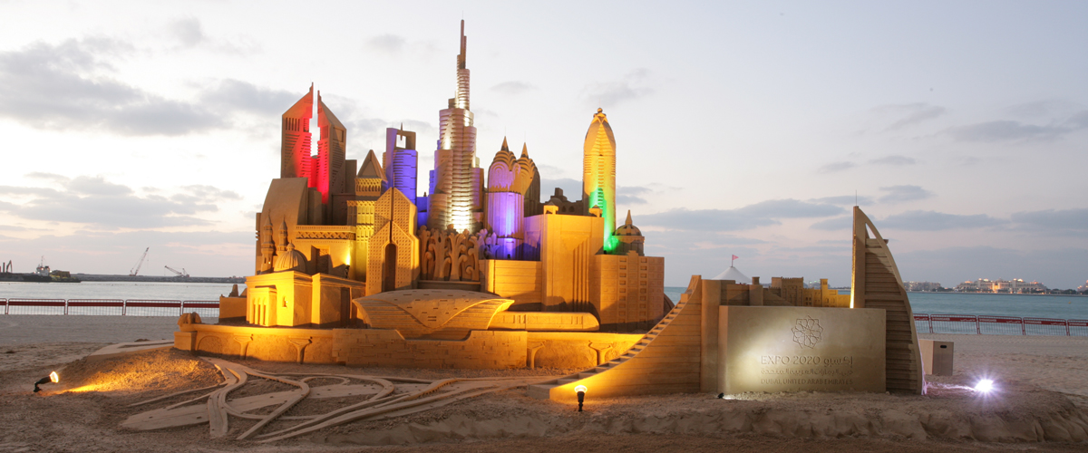 The Beach Mall sand sculpture with lighting effects- Sculpting Sand – Jennifer Rossen